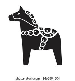 Vector flat cartoon black Scandinavian Swedish horse isolated on white background