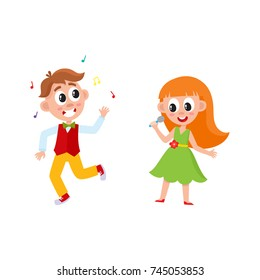 vector flat cartoon boy and girl kid dancing in party hat, throwing musik confetti and singing at microphone smiling . isolated illustration on a white background. Kids patty concept