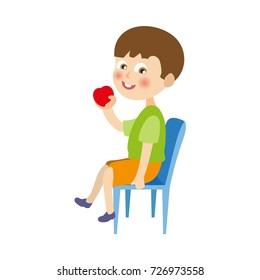 vector flat cartoon boy kid in shorts and t-short sitting at chair eating red apple. Children at summer camp concept. Isolated illustration on a white background.