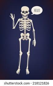 Vector flat cartoon bright colored human skeleton character with glowing orange eyes, waving hand and saying 'Hello' on dark blue background | Creepy skeleton design element | Halloween item: skeleton