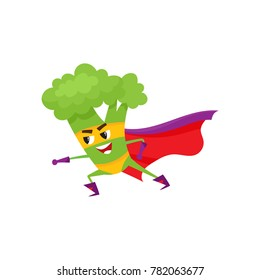 vector flat cartoon broccoli character in red cape, mask standing in fight position. Isolated illustration on a white background. Funny fruit, vegetable super hero protecting people health
