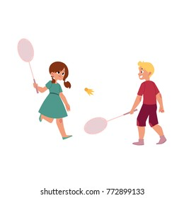 vector flat cartoon caucasian teen children at summer camp concept. Girl and boy playing badminton, shuttlecock holding rackets. Isolated illustration on a white background.