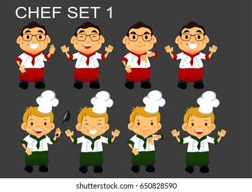 vector flat cartoon chef set