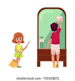 vector flat cartoon children cleaning home set. Young teen girl standing in dress holding broom smiling sweeping floor, boy cleaning big mirror by rag. Isolated illustration on a white background.