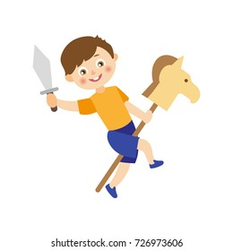 vector flat cartoon children at summer camp concept. Boy playing with wooden horse and toy sword playing role at stage. Isolated illustration on a white background.
