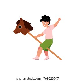 vector flat cartoon children at summer camp concept. Boy playing with wooden horse playing role at stage. Isolated illustration on a white background.