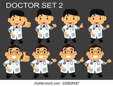 vector flat cartoon doctor set