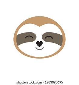 Vector flat cartoon face of brown smiling sloth isolated on white background
