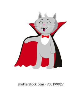 vector flat cartoon funny cat dressed up like vampire count Dracula in devilish cloak, cape laughing. Isolated illustration on a white background. Fancy Halloween outfit for an animal concept