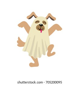 vector flat cartoon funny dog puppy dressed up in bedsheet like ghost dances sticking out his tongue . Isolated illustration on a white background. Fancy Halloween outfit for an animal concept