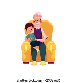 vector flat cartoon grandfather and grandson sitting at armchair reading book together. Isolated illustration on a white background. Grandparents and children relationship concept