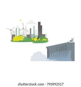 vector flat cartoon hydroelectric dam power station, green city concept set. Water power plant and factory. Green ecological renewable electricity resource. Isolated illustration on a white background