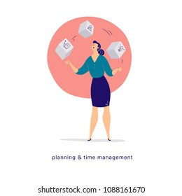 Vector flat cartoon illustration of business lady office character juggle blocks isolated on light background. Metaphor & symbol - achievements, time management, feminism, planning, motivation, growth