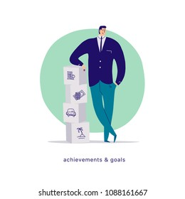 Vector flat cartoon illustration with businessman office character standing at blocks pile isolated on white background. Metaphor - achievements, motivation, home, money finance, car, holiday goals.