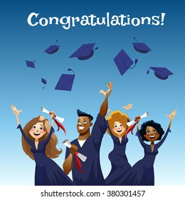 Vector flat cartoon illustration. Dynamic poses. Happy graduates throwing graduation hats in the air.