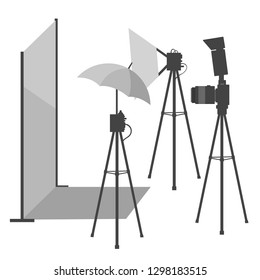 Vector flat cartoon illustration of photography studio with lights, camera and umbrella, vector illustration
