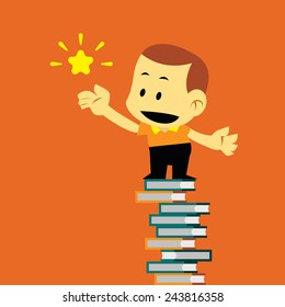 Vector Flat Cartoon Kid Stand on Pile of Books and Reaching to Shining The Star, Successful in Education Concepts.