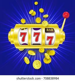 vector flat cartoon lucky triple seven Jackpot, golden slot mashine with dollar rain around. Illustration on a blue background. Sign of profit easy money. Casino, gambling games design poster