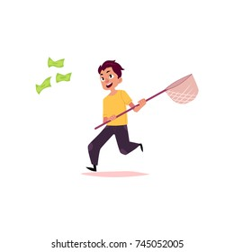 vector flat cartoon man running for money holding butterfly net. Male character in casual clothing chasing, trying to catch for dollar note. Isolated illustration on a white background.