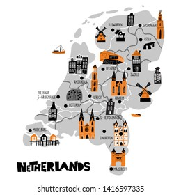 Vector flat cartoon map of Netherlands. Illustration of different attractions. Isolated on white background.