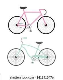 Vector flat cartoon pastel set of two retro and modern bicycle isolated on white background