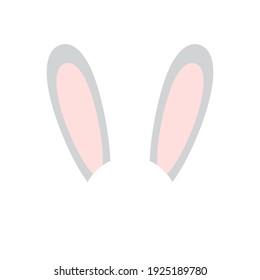 Vector flat cartoon rabbit bunny ears isolated on white background