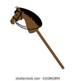 Vector flat cartoon riding hobby horse toy isolated on white background