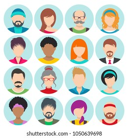 Vector flat cartoon round avatars women and men