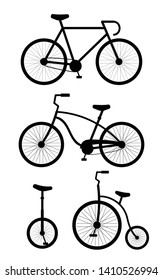 Vector flat cartoon set collection of black different bicycle type isolated on white background
