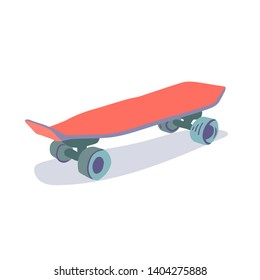 Vector flat cartoon skateboard ,longboard, pennyboard isolated on white background. handdrawn illustration.