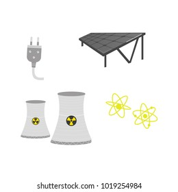 vector flat cartoon solar panels battery, sun power cells plant, nuclear reactor, power plug, atoms set. Isolated illustration on a white background. Dirty and green eletricity source concept