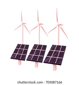 vector flat cartoon solar panels battery, sun power cells plant, windmills turbine eco energy source station set. Isolated illustration on a white background. Alternative eletricity source concept