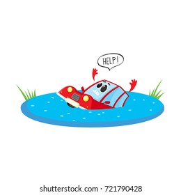 vector flat cartoon stylized drowning car character with face and arms saying help. Colored vehicle, Automobile natural accident insurance concept. Isolated illustration on a white background.