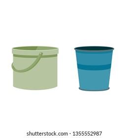 Vector flat cartoon two bucket, metal bucket, plastic bucket, vector illustration isolated on white background