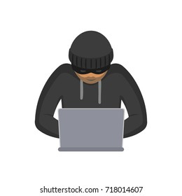 vector flat cartoon unidentified hooded bandit hacker in black pullover, hat with laptop trying to hack private data, security sistem. Isolated illustration on a white background.