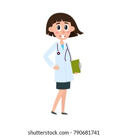 vector flat cartoon woman doctor in white medical clothing with sthetoscope holding clipboard with blank paper. Adult female character with modern haircut. Isolated illustration on a white background.