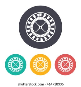 Vector flat casino roulette wheel icon with set of 3 colors