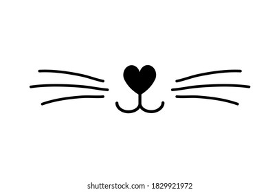 Vector flat cat nose isolated on white background