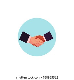 vector flat caucasian and african black man hands handshaking in blue circle icon. Symbol of good deal, agreement, partnership, compromise and success. Isolated illustration on a white background.