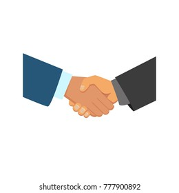vector flat caucasian and african black man hands handshaking icon. Symbol of good deal, agreement, partnership, compromise and success. Isolated illustration on a white background.