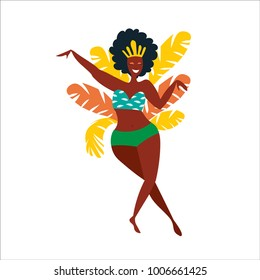 Vector flat character. Brazilian samba dancers of the carnival in Rio de Janeiro. Girl in a festive suit. Vector  Illustration.