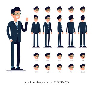 Vector flat character sheet with businessman standing front, side, back views, full length. Facial emotions, basic set of phoneme mouth lip sync chart. Ideal for infographics animation, motion design