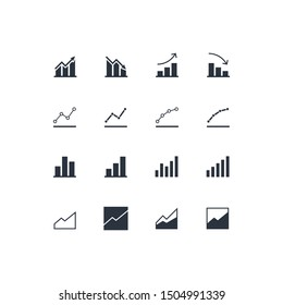 Vector flat chart diagram icon set illustration. Black column with arrow, line and area pictogram isolated on white. Concept of finance statistics, analitics. Design element for ui, report, web