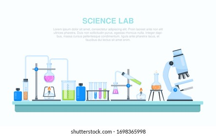 Vector flat chemistry laboratory and science equipment.  Glass flasks with microscope in research laboratory.