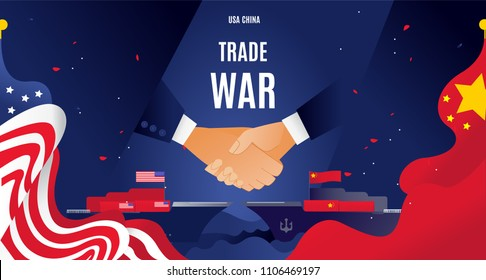 Vector flat China and USA trade war concept. Business global exchange tariff international economy. Chinese  USA flag illustration.container transportation on ships with goods Design modern  poster.