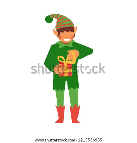 Vector Flat Christmas Elf Boy Holding Present Box With Golden Ribbon Bow Smiling Fairy Holiday