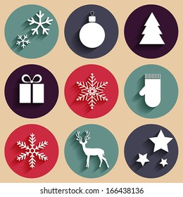 Vector flat Christmas icons in retro style