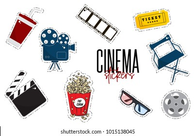 Vector flat cinema stickers: movie, camers, tickets, popcorn, glasses, chair, filmstrip. Tv symbol illustration. Modern graphic design. Film production outline set. Multimedia leisure weekend decor
