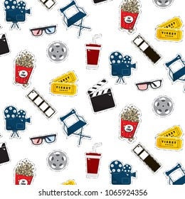 Vector flat cinema stickers pattern: movie, camers, tickets, popcorn, glasses, chair, filmstrip. Tv symbol illustration texture. Modern graphic design. Film production outline set.