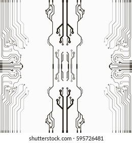 Vector flat circuit board illustration. Vector microchip background